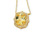 Cheryl M™ Gold Plated Sterling Silver Asscher-cut Canary CZ 18in Necklace