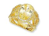 Cheryl M™ Gold Plated Sterling Silver Fancy Oval Canary/White CZ Ring