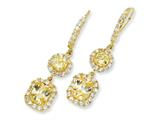 Cheryl M™ Gold Plated Sterling Silver Canary/White CZ French Wire Earrings