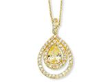 Cheryl M™ Gold Plated Sterling Silver Canary/Wht Pear CZ 18in Necklace