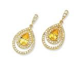 Cheryl M™ Gold Plated Sterling Silver Canary/Wht Pear CZ Dangle Post Earrings