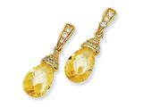 Cheryl M™ Gold Plated Sterling Silver Teardrop Canary CZ Dangle Post Earrings
