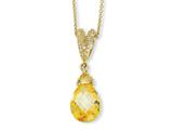 Cheryl M™ Gold Plated Sterling Silver Teardrop Canary CZ 18in Necklace