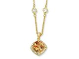 Cheryl M Gold Plated Sterling Silver Rose-cut Champ CZ Square 18in Necklace