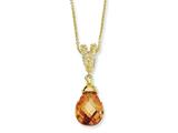 Cheryl M Gold Plated Sterling Silver Teardrop Champagne CZ 18in Necklace