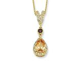 Cheryl M™ Gold Plated Sterling Silver Pear Champ/White CZ 18in Necklace