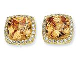 Cheryl M™ Gold Plated Sterling Silver Rose-cut Champ CZ Square Post Earrings