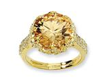 Cheryl M™ Gold Plated Sterling Silver Fancy Champagne and White CZ Ring