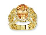 Cheryl M™ Gold Plated Sterling Silver Fancy Oval Champ/Wht CZ Ring