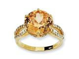 Cheryl M™ Gold Plated Sterling Silver 100-facet Champagne and White CZ Ring