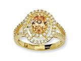 Cheryl M™ Gold Plated Sterling Silver Fancy Oval Champ/White CZ Ring