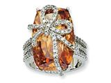 Cheryl M™ Sterling Silver Champagne and White CZ Bow Ring style: QCM462