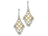 Cheryl M™ Sterling Silver Champagne CZ Dangle Post Earrings style: QCM464