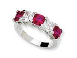 Cheryl M™ Sterling Silver Asscher-cut Synthetic Ruby/CZ 5-stone Ring