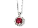 Cheryl M™ Sterling Silver Synthetic Ruby and CZ 18in Necklace