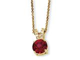 Cheryl M™ Gold Plated Sterling Silver Chckr-cut Synth Ruby/CZ 18in Necklace