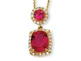 Cheryl M™ Gold Plated Sterling Silver Synthetic Ruby and CZ 18in Necklace