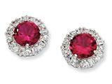 Cheryl M™ Sterling Silver Synthetic Ruby and CZ Post Earrings