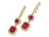 Cheryl M™ Gold Plated Sterling Silver Synthetic Ruby and CZ French Wire Earrings