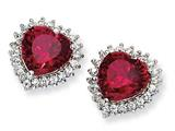 Cheryl M™ Sterling Silver Heart 100-facet Synthetic Ruby/CZ Post Earrings