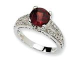 Cheryl M™ Sterling Silver Checker-cut Dark Red and White CZ Ring style: QCM475