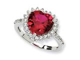 Cheryl M Sterling Silver 100-facet Synthetic Ruby and CZ Heart Ring