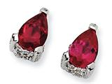 Cheryl M™ Sterling Silver Pear-shape Synthetic Ruby and CZ Post Earrings