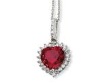 Cheryl M™ Sterling Silver Heart 100-facet Synthetic Ruby/CZ 18in Necklace
