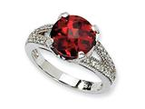 Cheryl M Sterling Silver Checker-cut Dark Red and White CZ Ring