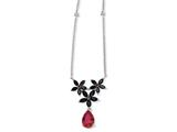 Cheryl M™ Sterling Silver Synth Ruby/Blk CZ Floral 18in Necklace