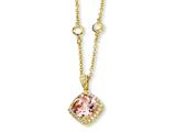 Cheryl M™ Gold Plated Sterling Silver Rose-cut Pink CZ Square 18in Necklace