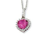 Cheryl M™ Sterling Silver 100-facet Heart Synth Pink Sapph/CZ 18in Necklace style: QCM484