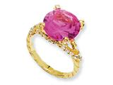 Cheryl M Gold Plated Sterling Silver Synthetic Pink Sapphire and CZ Ring