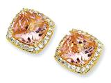 Cheryl M™ Gold Plated Sterling Silver Rose-cut Pink CZ Square Post Earrings