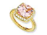 Cheryl M Gold Plated Sterling Silver Rose-cut Pink CZ Square Ring