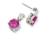 Cheryl M Sterling Silver 8mm Syn Pink Sapphire and CZ Dangle Post Earrings