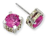 Cheryl M Sterling Silver 8mm Synthetic Pink Sapphire/Yellow CZ Stud Earrings