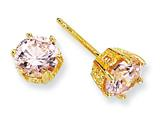 Cheryl M™ Gold Plated Sterling Silver 6.5mm Pink CZ Stud Earrings