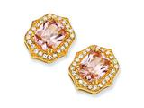 Cheryl M™ Gold Plated Sterling Silver Asscher-cut Pink CZ Post Earrings