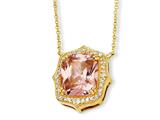 Cheryl M™ Gold Plated Sterling Silver Asscher-cut Pink CZ 18in Necklace