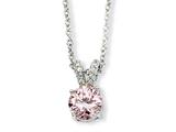 Cheryl M™ Sterling Silver Pink and White CZ 18in Necklace