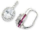 Cheryl M™ Sterling Silver Synthetic Ruby and CZ Leverback Earrings