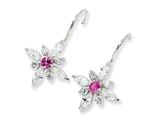 Cheryl M™ Sterling Silver Synthethic Pink Sapphire and CZ Floral Wire Earrings