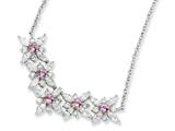 Cheryl M™ Sterling Silver Synthethic Pink Sapphire/CZ Floral 18in Necklace