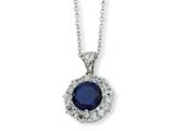 Cheryl M Sterling Silver Synthetic Sapphire and CZ 18in Necklace