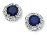 Cheryl M™ Sterling Silver Synthetic Sapphire and CZ Post Earrings