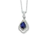 Cheryl M Sterling Silver Marquise Synthetic Sapphire and CZ 18in Necklace