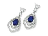 Cheryl M™ Sterling Silver Marquise Synth Sapphire and CZ Dangle Post Earrings