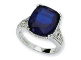 Cheryl M™ Sterling Silver Synthetic Sapphire and CZ Ring