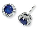Cheryl M™ Sterling Silver Synthetic Sapphire and CZ Round Post Earrings